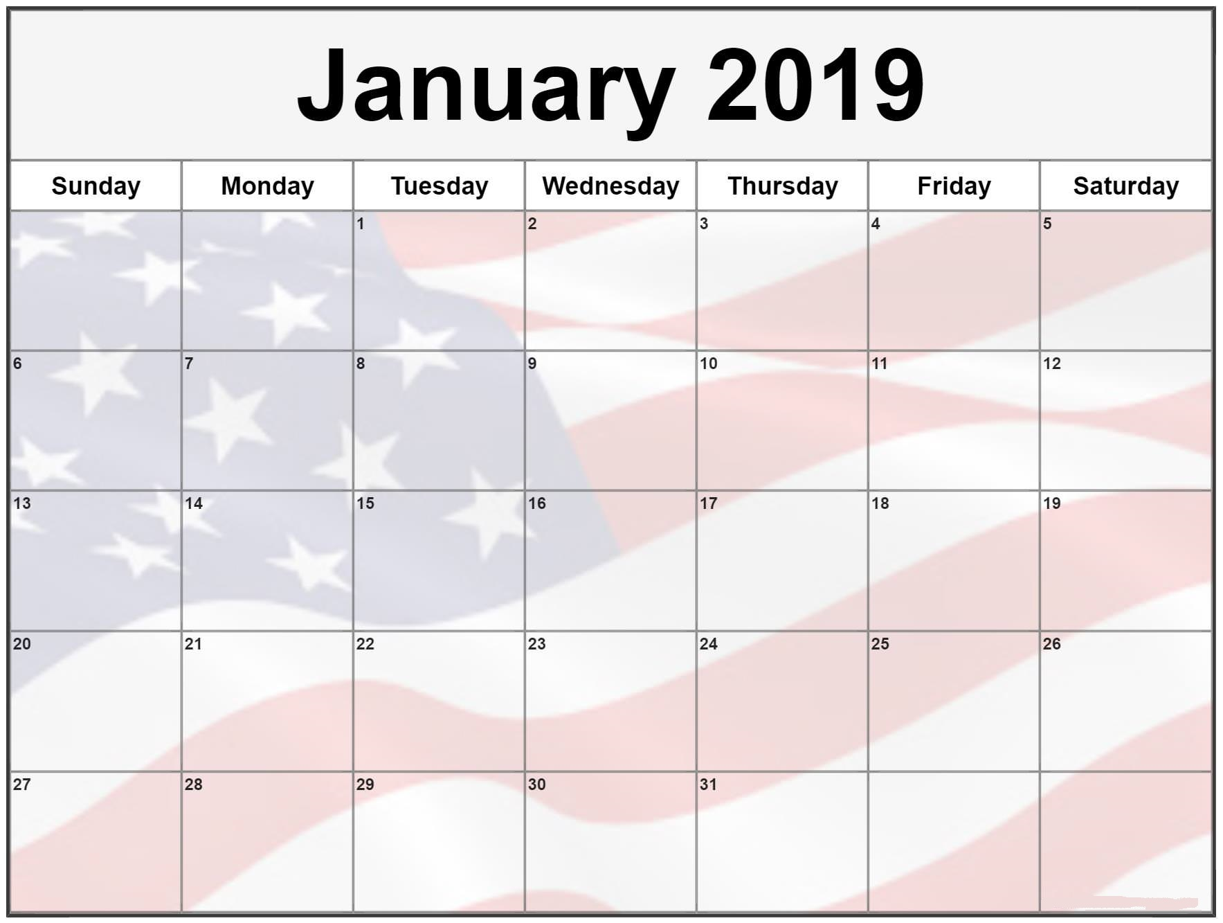 Calendar January 2019 With Holidays Templates