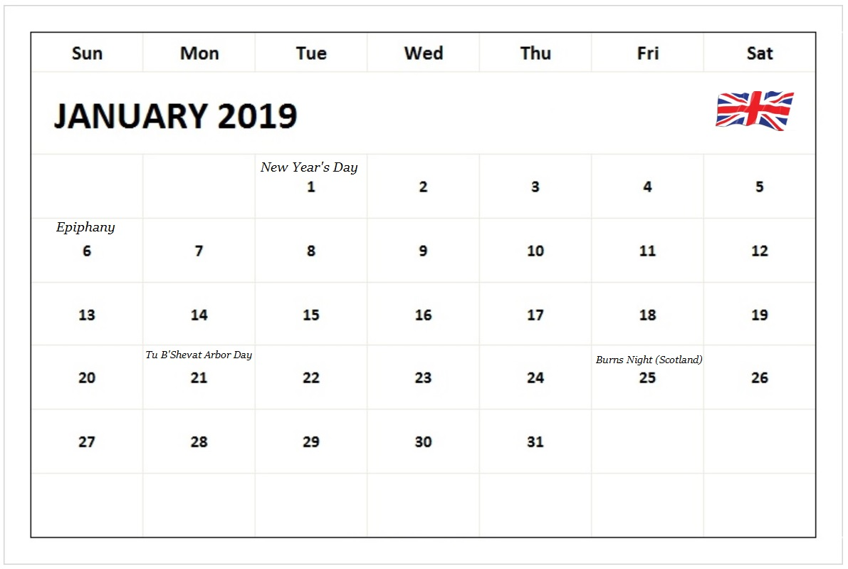 Calendar January 2019 With Holidays UK