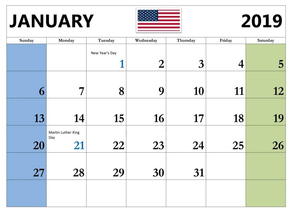 Calendar January 2019 With Holidays US