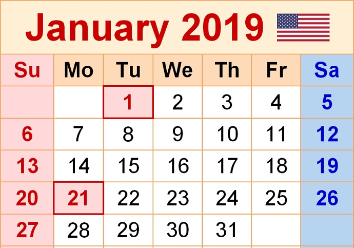 Calendar January 2019 With Holidays USA
