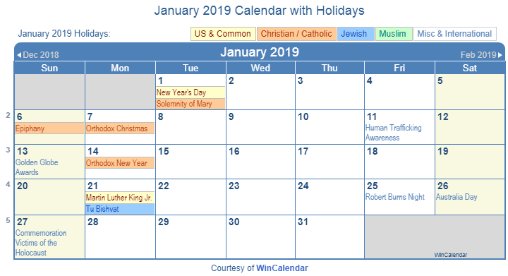 Calendar January 2019 With Holidays