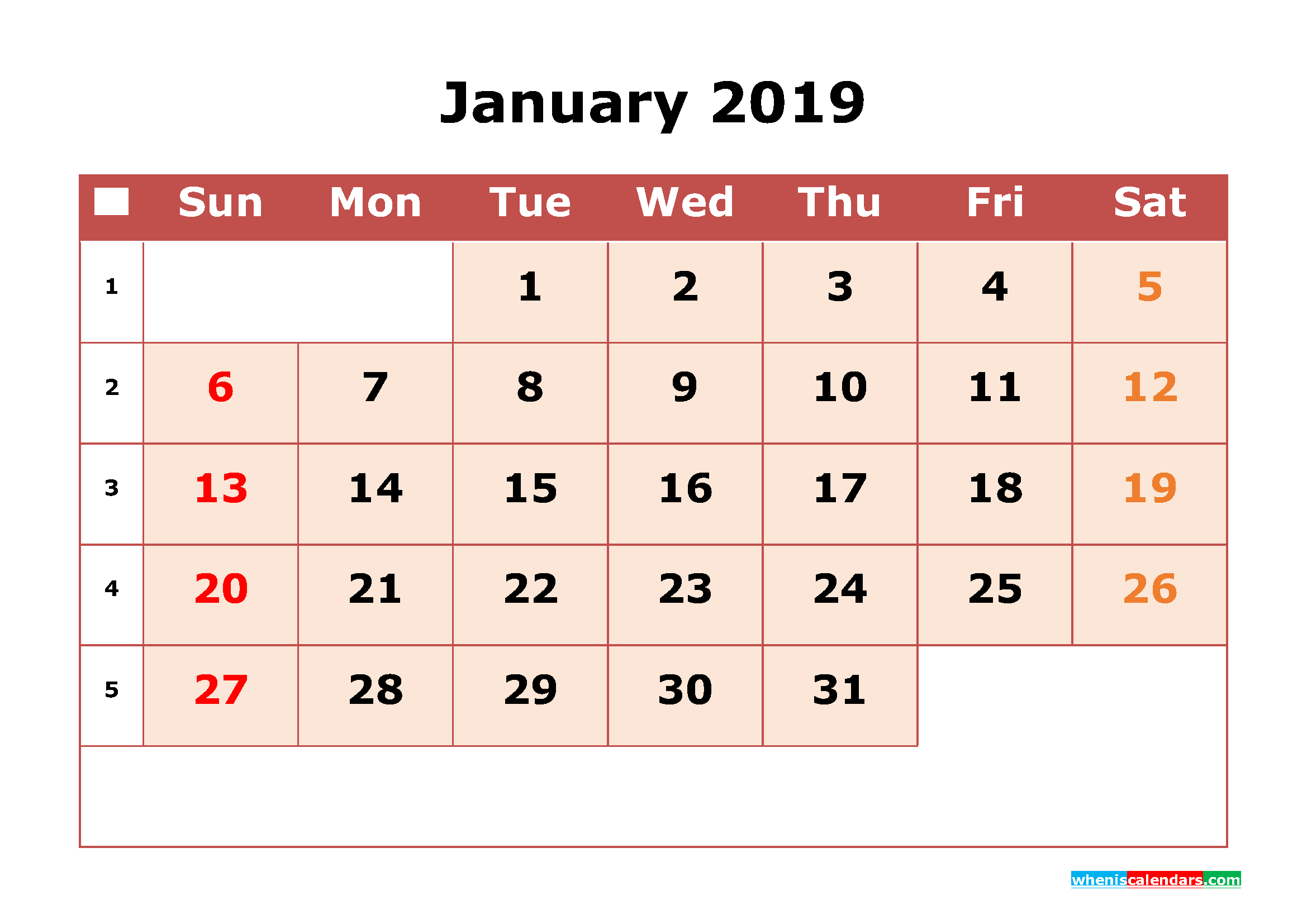 Cute Calendar January 2019 With Holidays