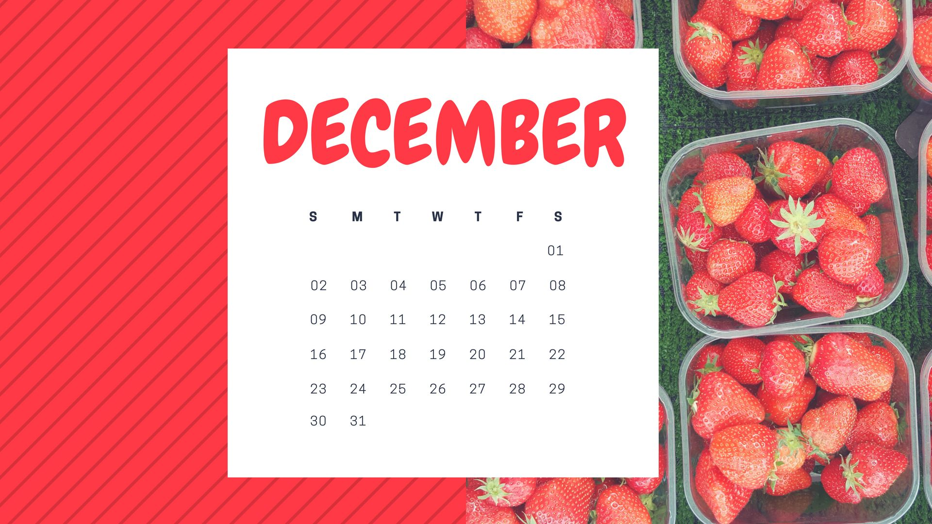 December 2018 Desktop Calendar Wallpaper