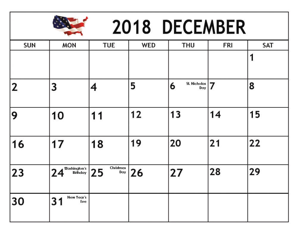 December 2018 Calendar USA with Holidays