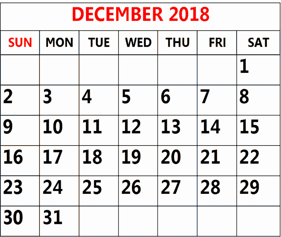 December 2018 Excel Printable Monthly Calendar