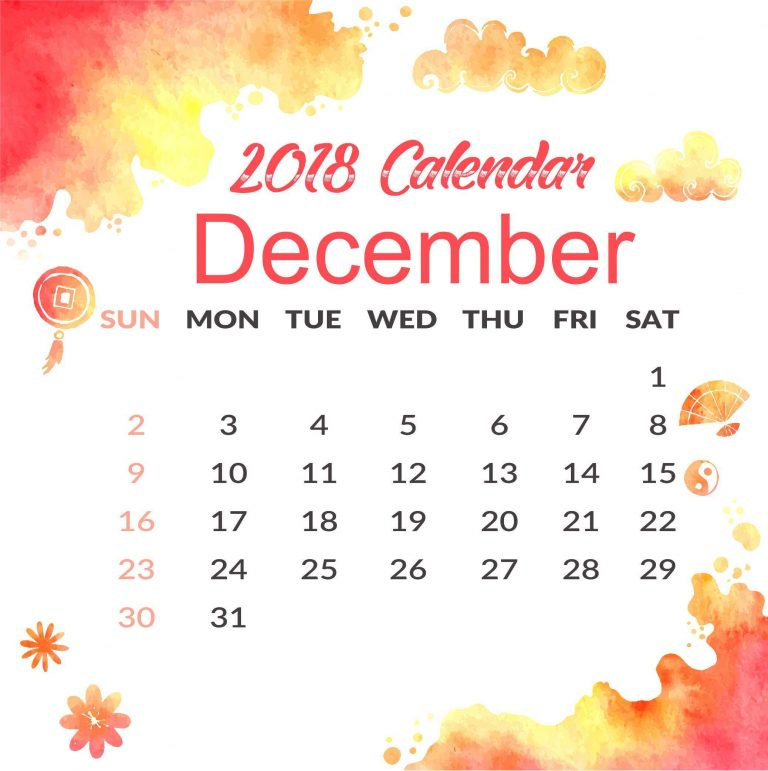 December 2018 Monthly Calendar Cute Template