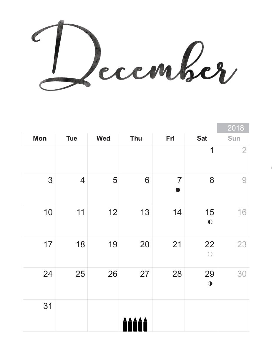 December 2018 Monthly Calendar Document Download