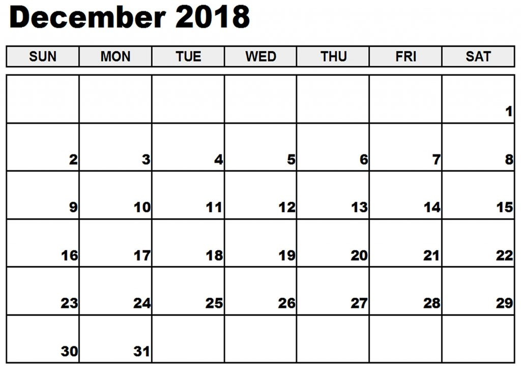 December 2018 Monthly Calendar Planner Download