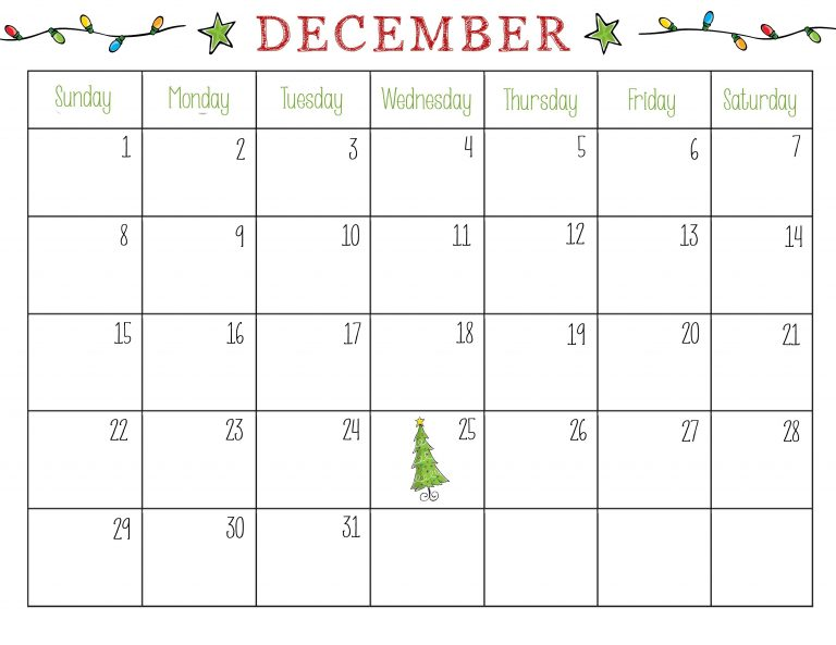 December 2018 Monthly Christmas Calendar In Word