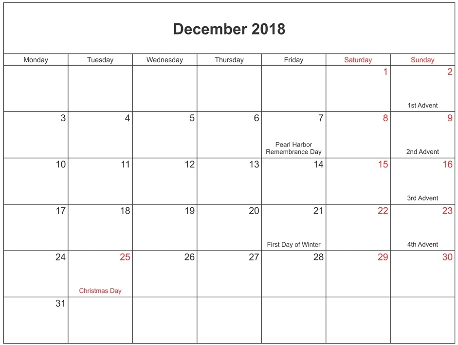 photo regarding December Printable Calendar Pdf named December 2018 PDF Calendar With Vacations - Down load Absolutely free