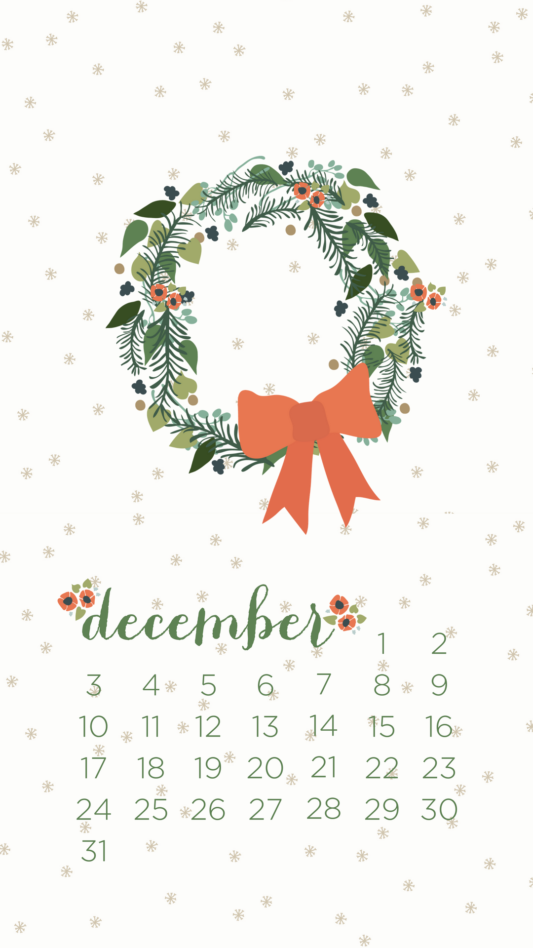 December 2018 Snow Wallpaper Calendar