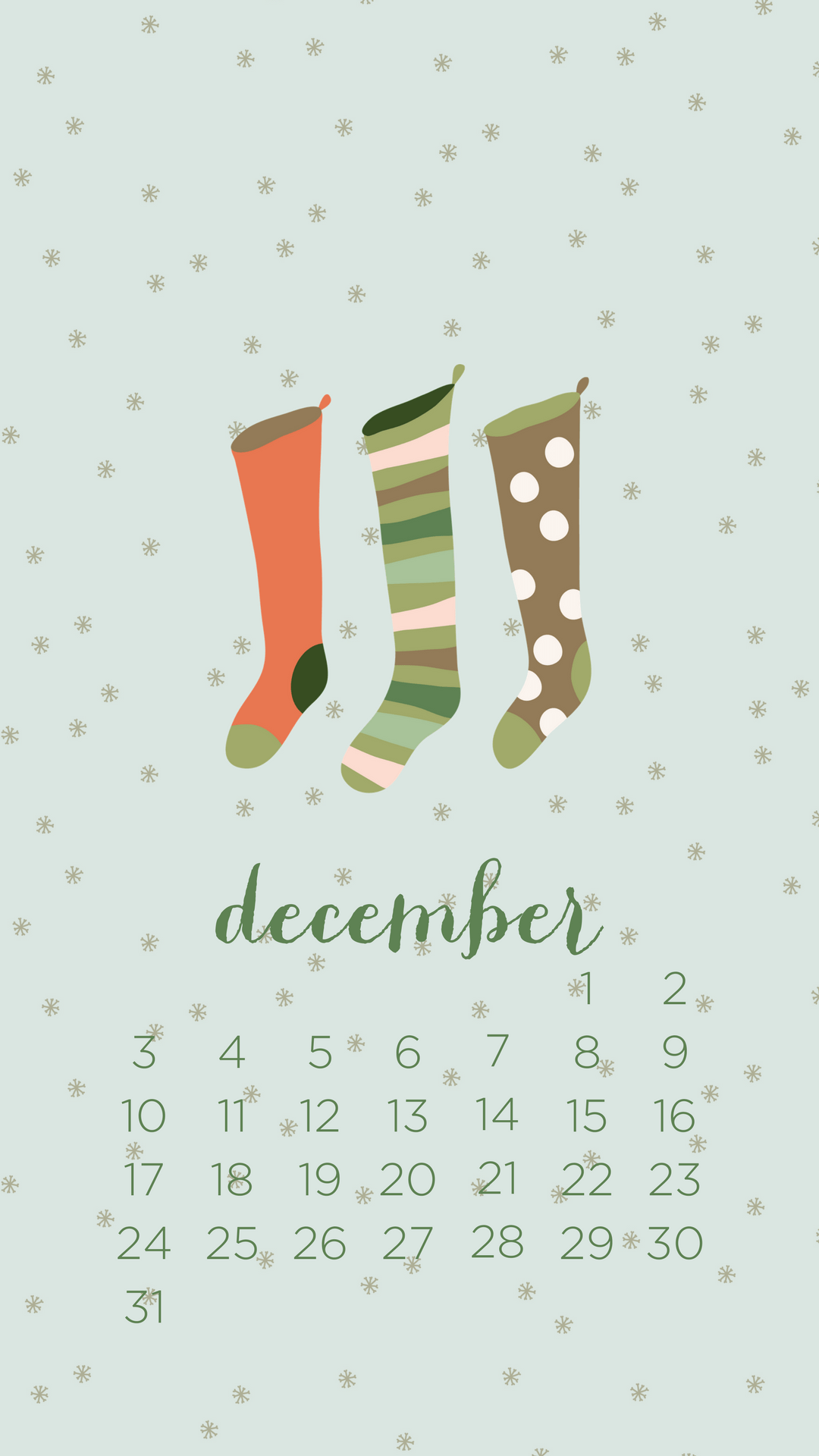 December 2018 Winter Calendar Wallpaper