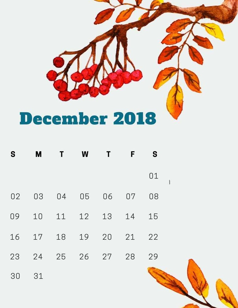 December 2018 iPhone Wallpaper Calendar