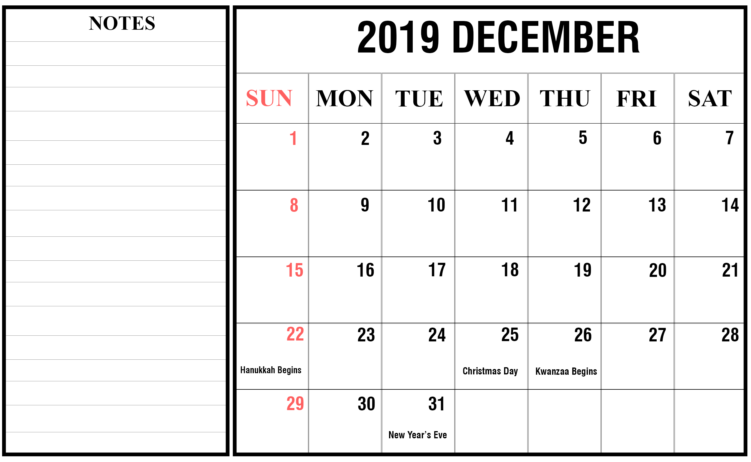 December 2019 Calendar USA with Holidays