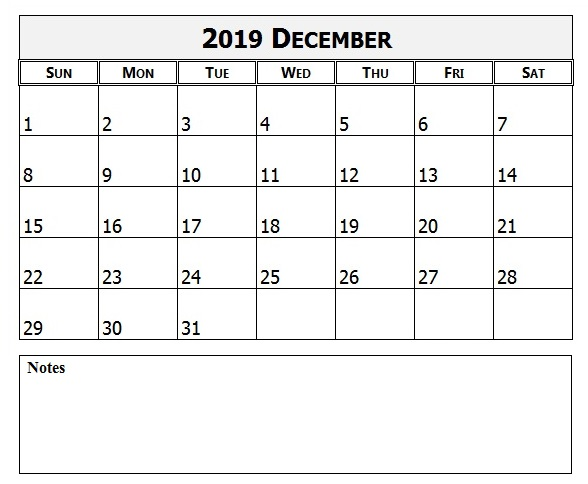 December 2019 PDF Calendar with Notes