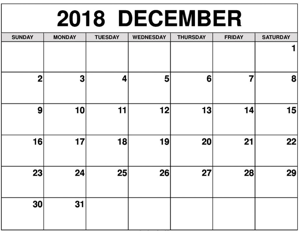 Editable Calendar 2018 December Worksheet