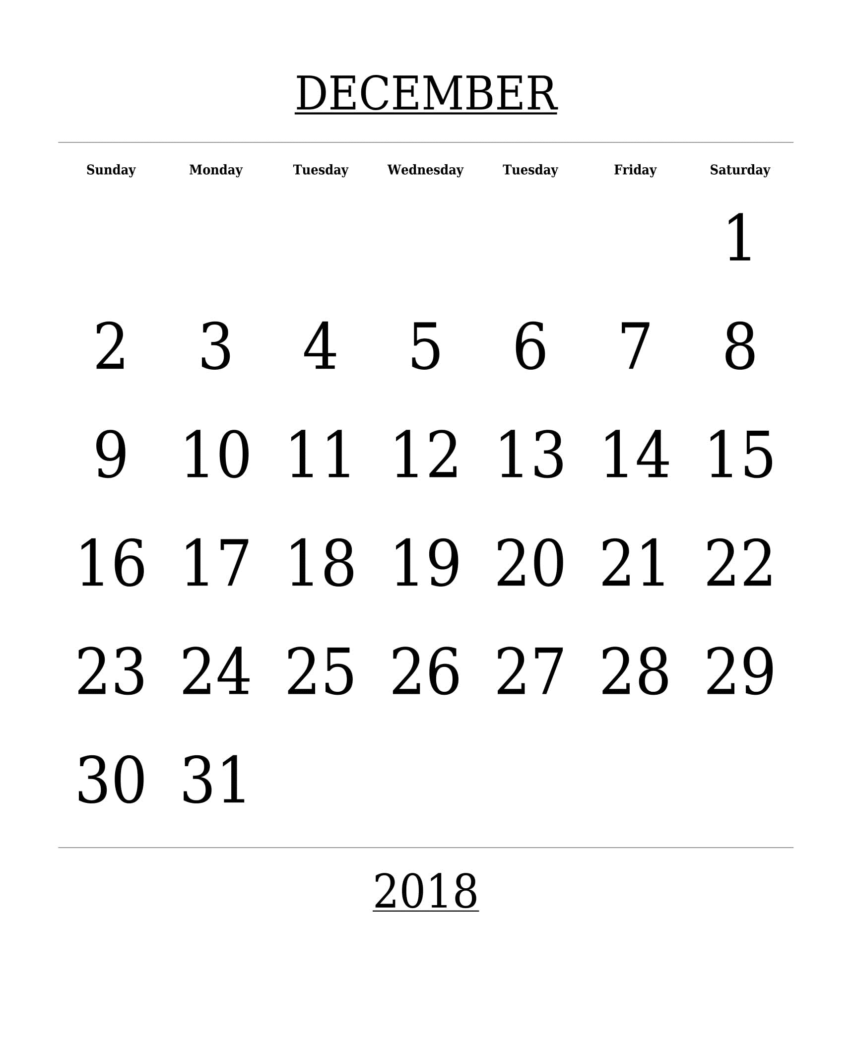 Editable December 2018 Monthly Calendar Title