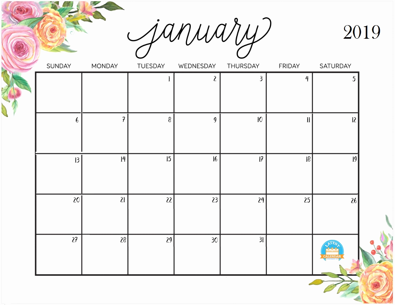 Floral Calendar January 2019 With Holidays