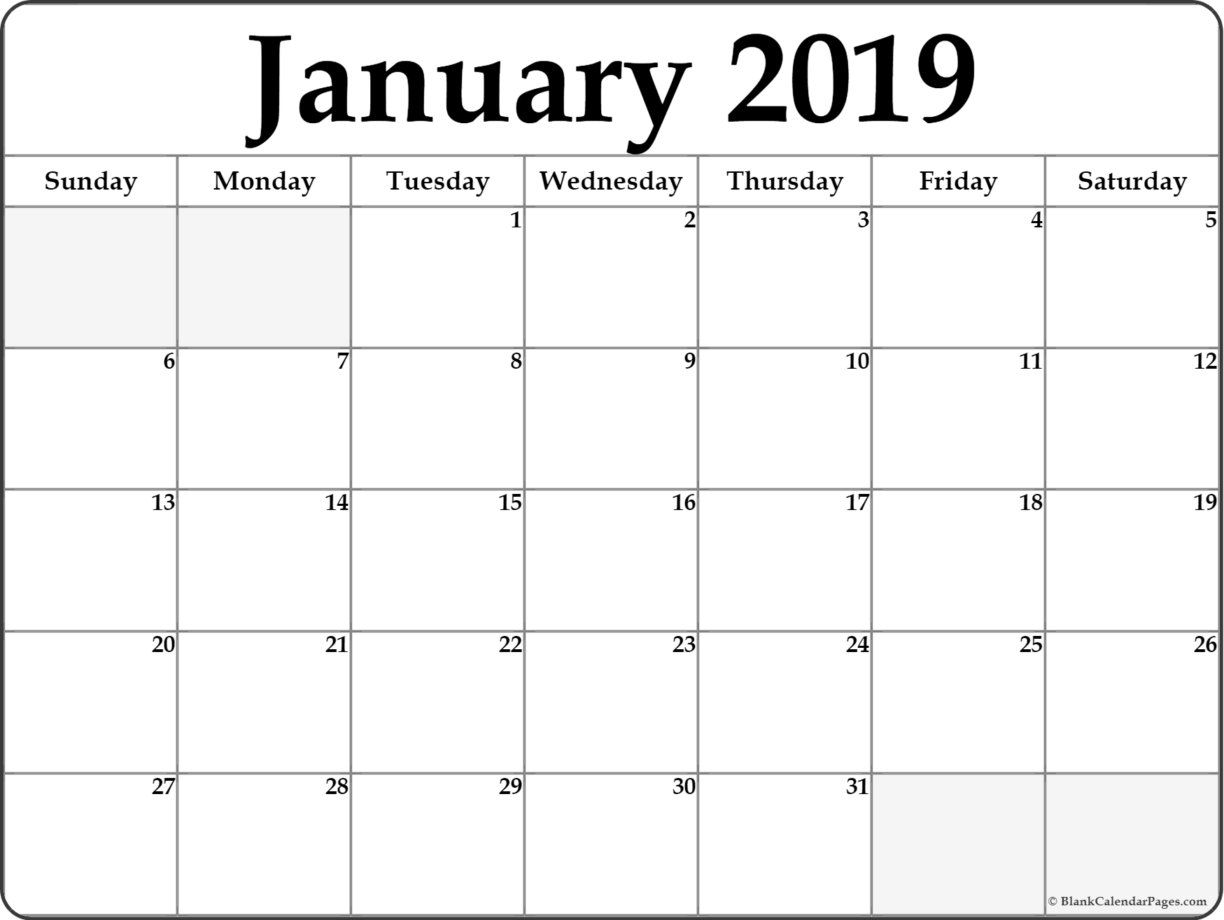 Free Printable January 2019 Calendar with Notes