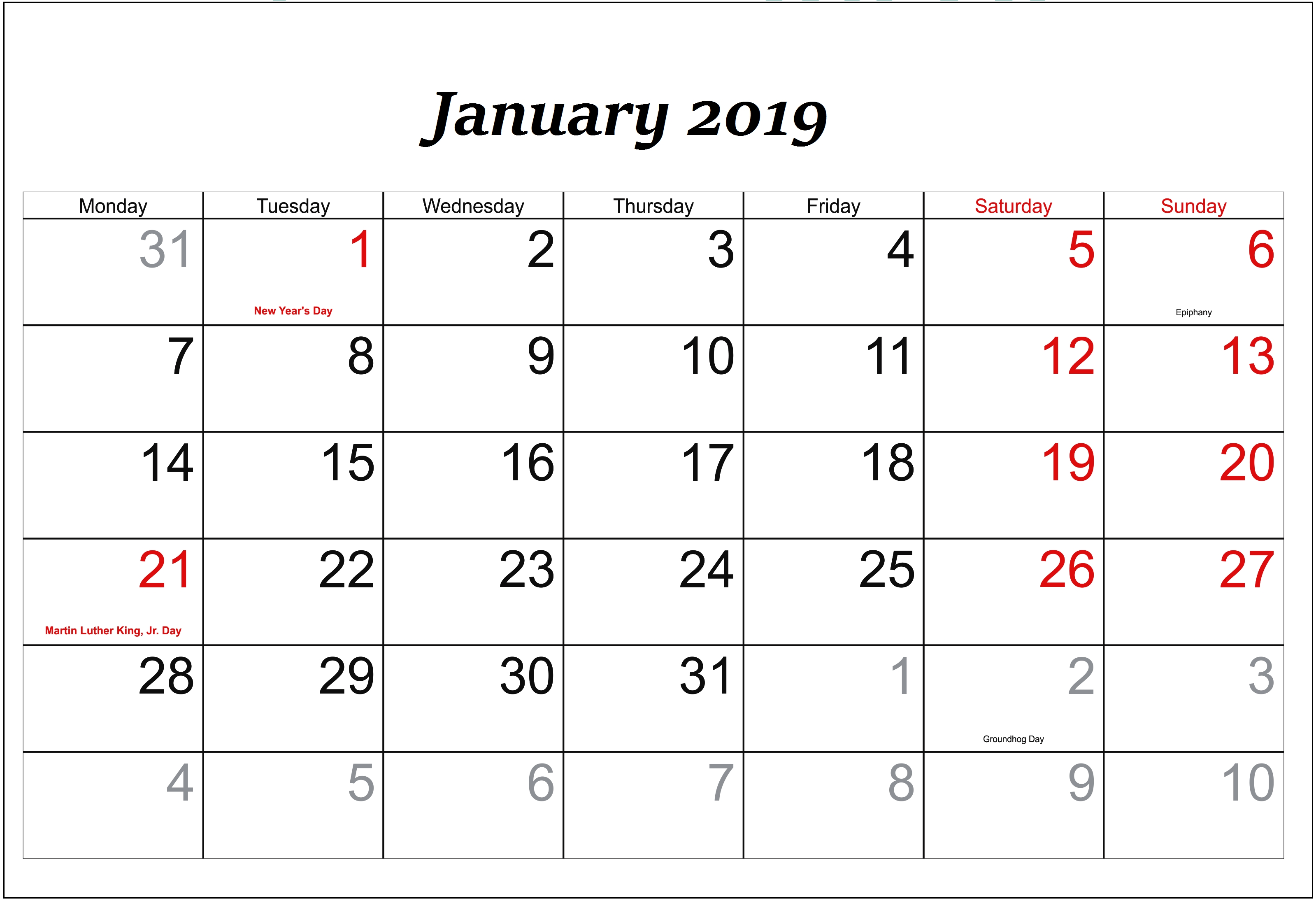 Holidays In January 2019 Calendar