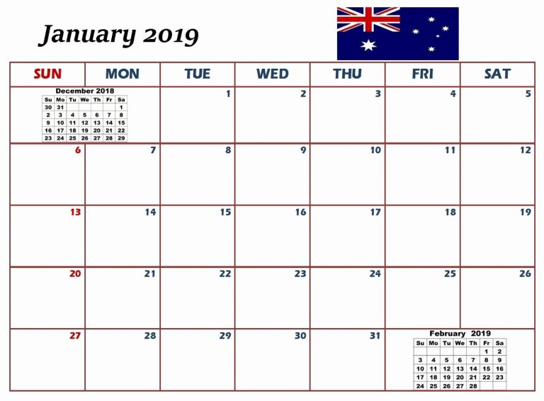 January 2019 Calendar Australia Schedule Template
