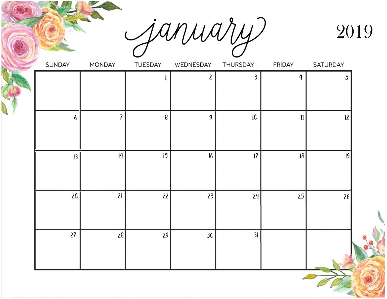 January 2019 Calendar Beautiful Printable Border