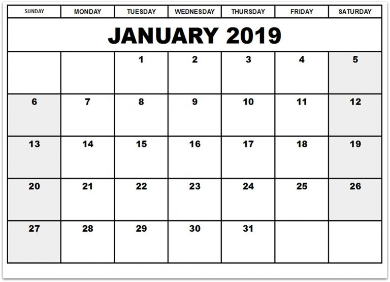 January 2019 Calendar Monthly Template Format