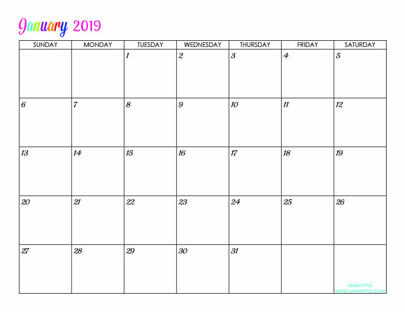 January 2019 Calendar Personalized