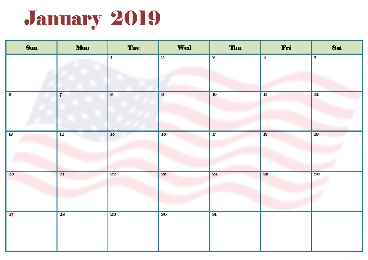 January 2019 Calendar Printable Australia Free Design