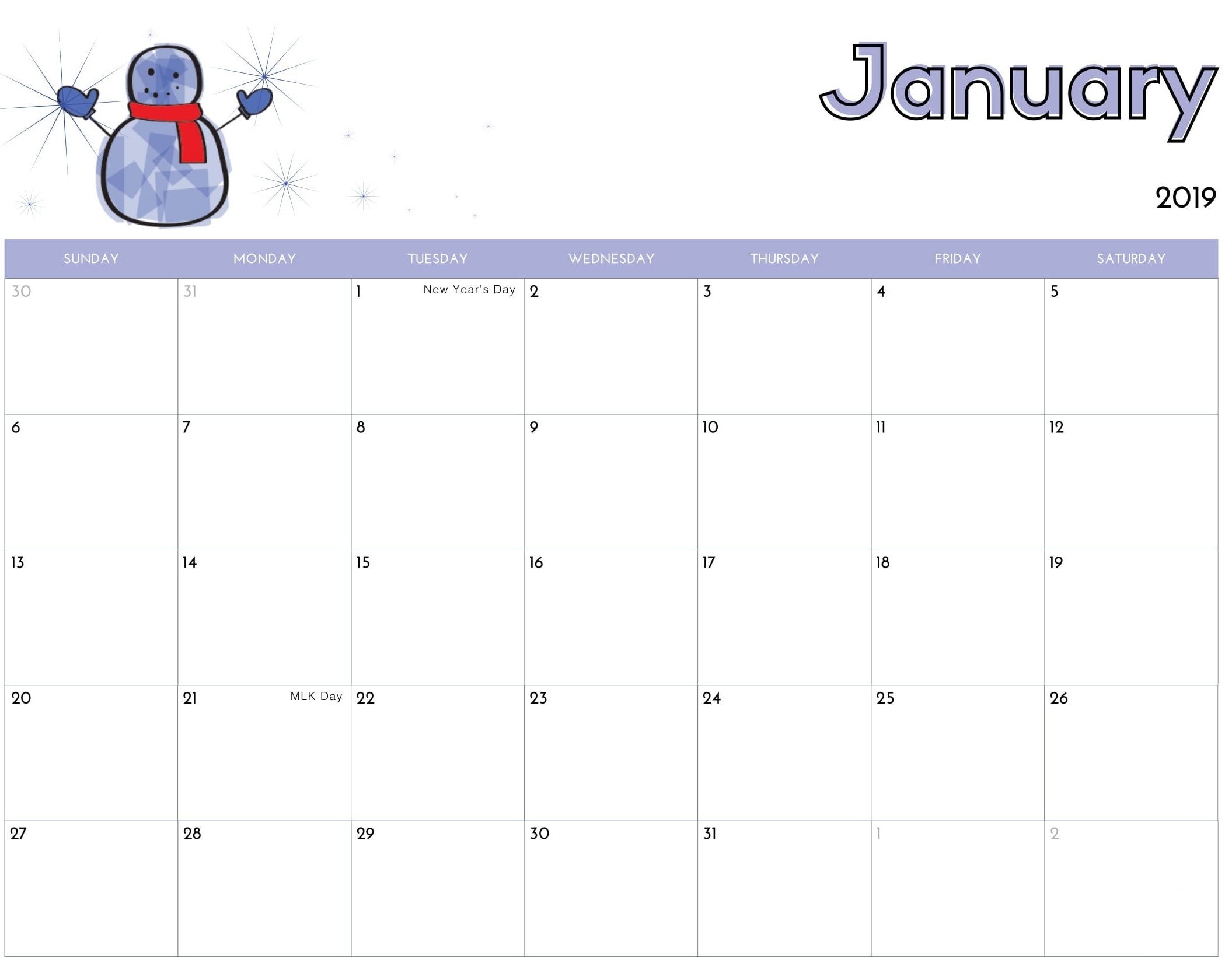 January 2019 Calendar Printable Cute Template