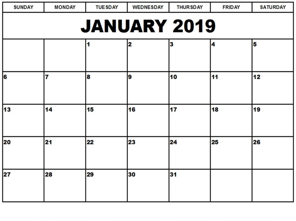 January 2019 Calendar Printable Planner Latest Format