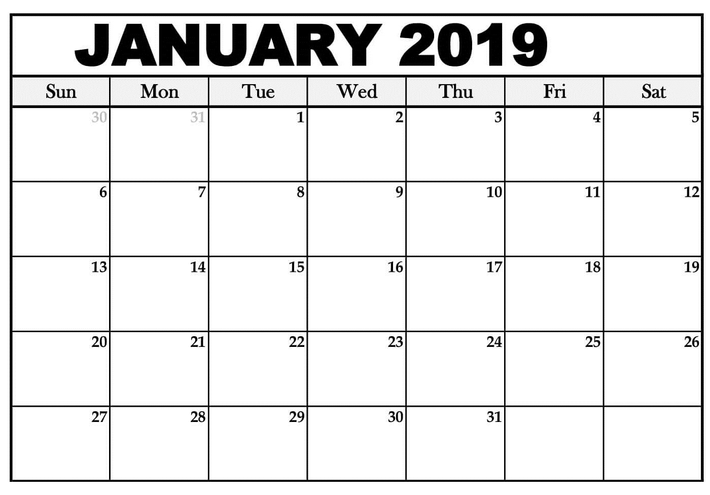 January 2019 Calendar Printable Schedule
