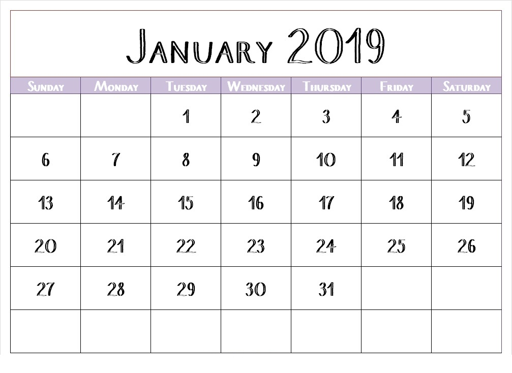 January 2019 Calendar Printable UK With Holidays