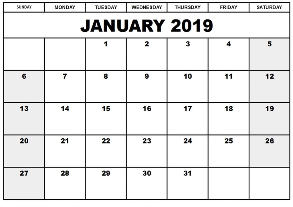January 2019 Calendar Printable Word Document
