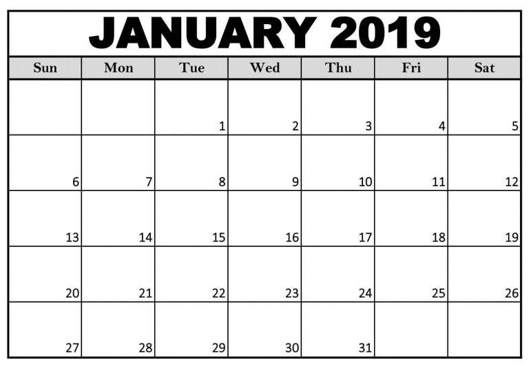 January 2019 Calendar Template Sheet