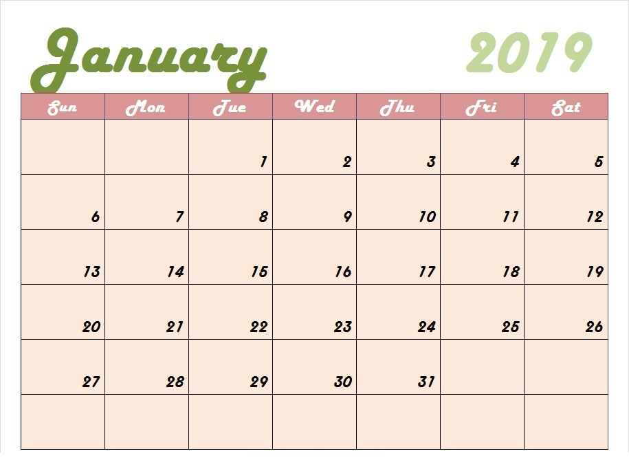 January 2019 Calendar Template Worksheet