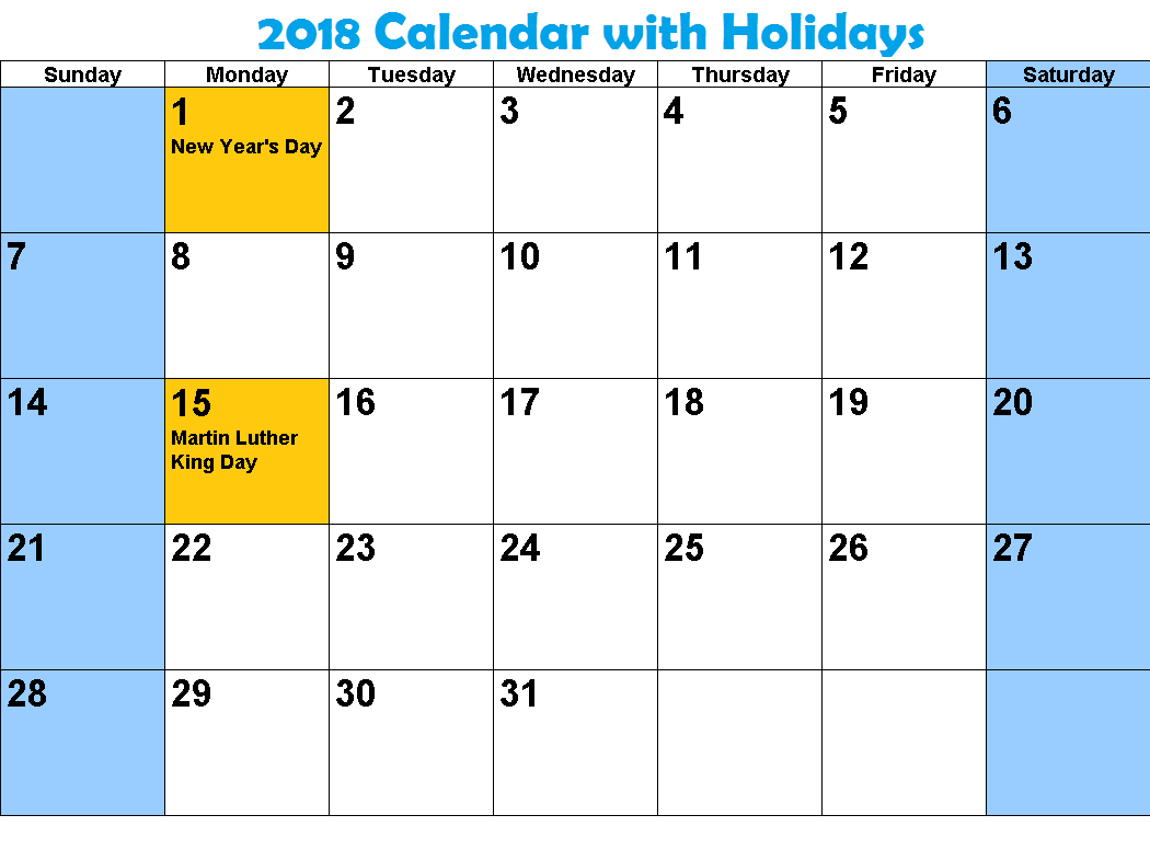 January 2019 Calendar With Holidays Print