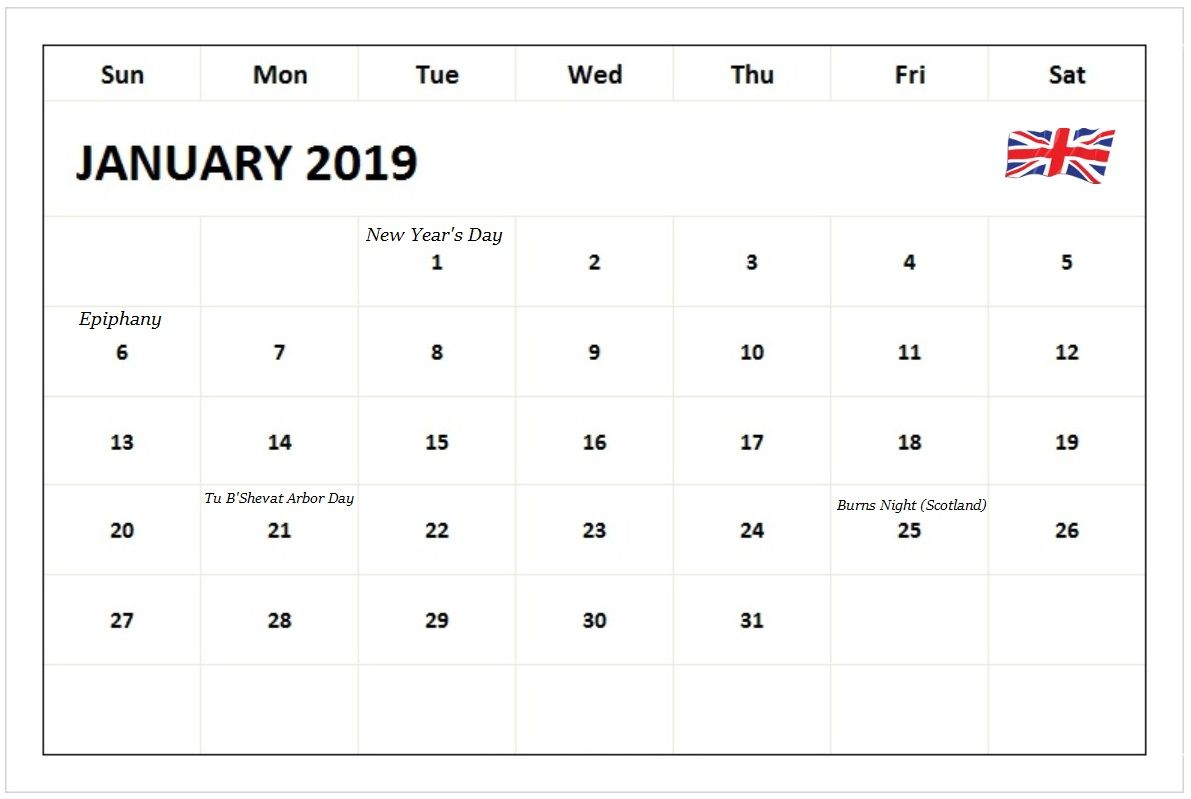January 2019 Calendar With Holidays UK