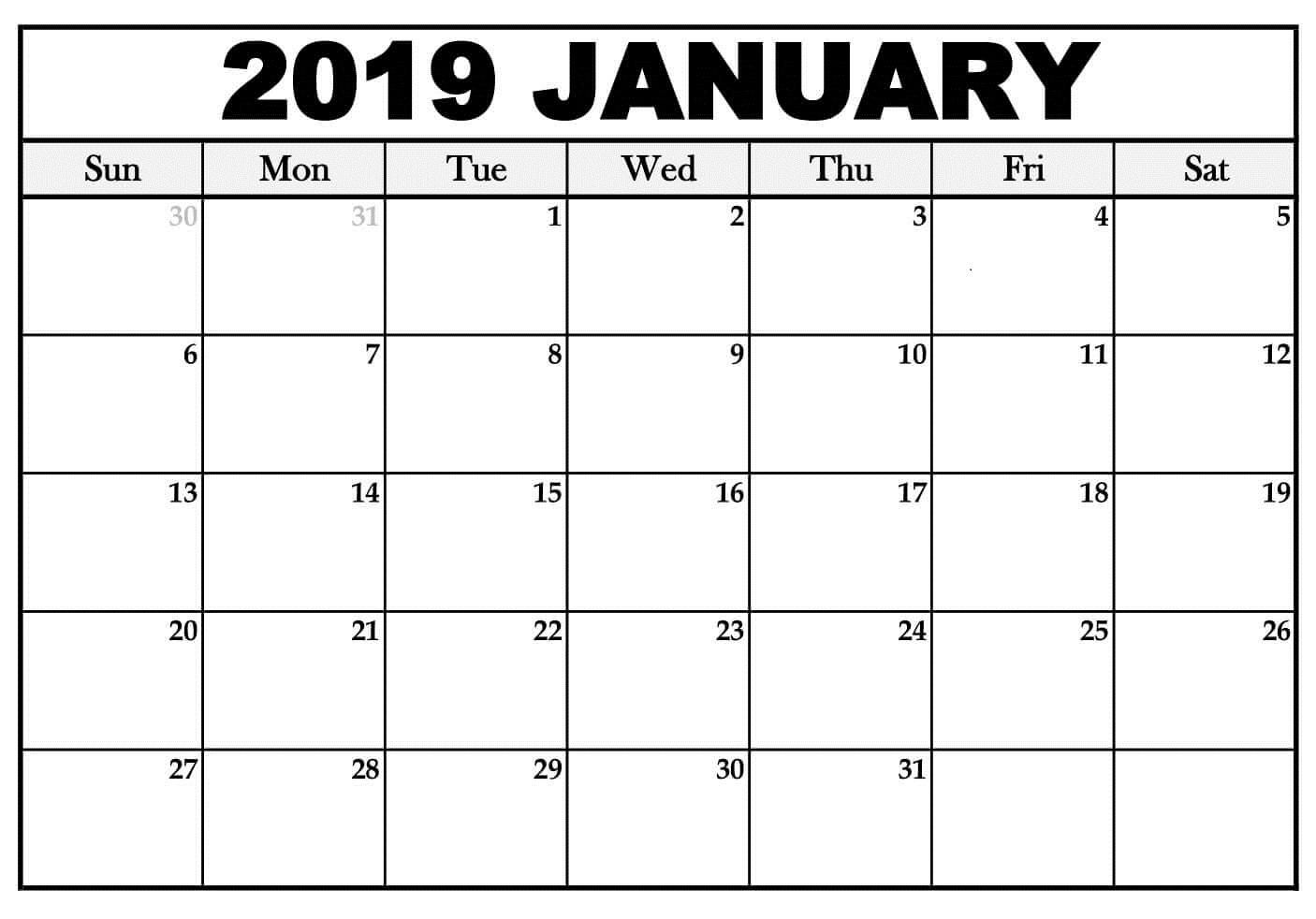 January 2019 Calendar Word Template Editable