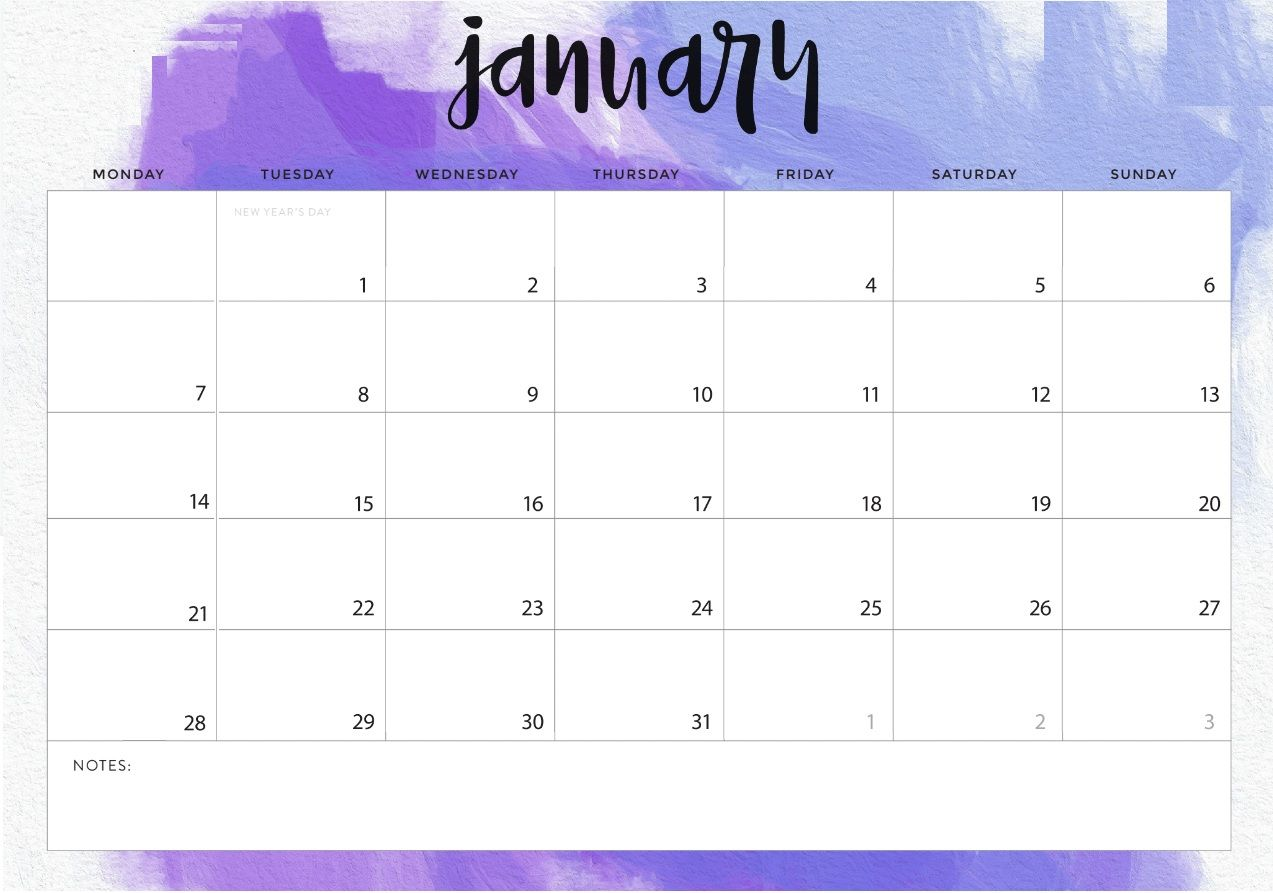 January 2019 Calendar with Notes Printable