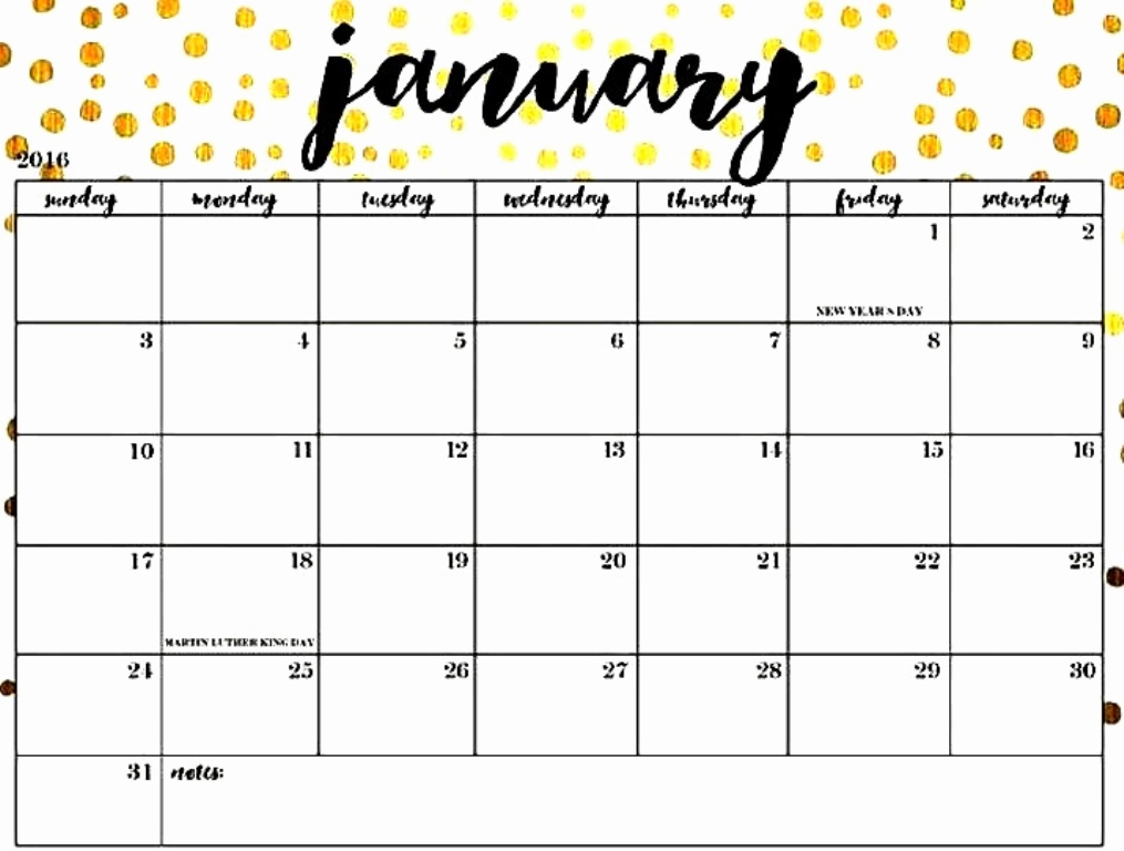 January 2019 Cute Calendar Printable