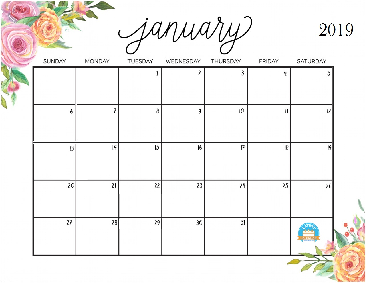 January 2019 Personalized Calendar