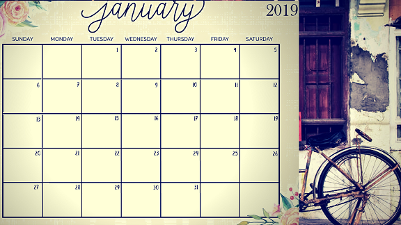 January 2019 Printable Calendar Image