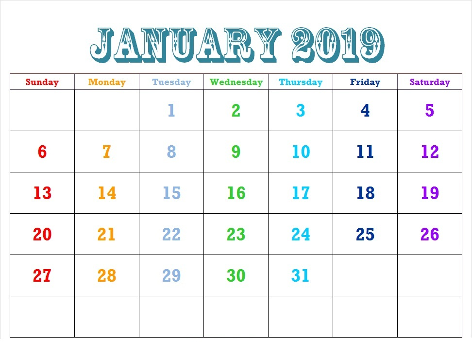 January 2019 Weekly Calendar Schedule