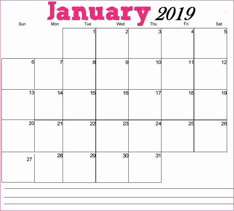 January Calendar 2019 Printable Landscape