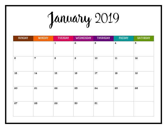 January Calendar 2019 Printable Word