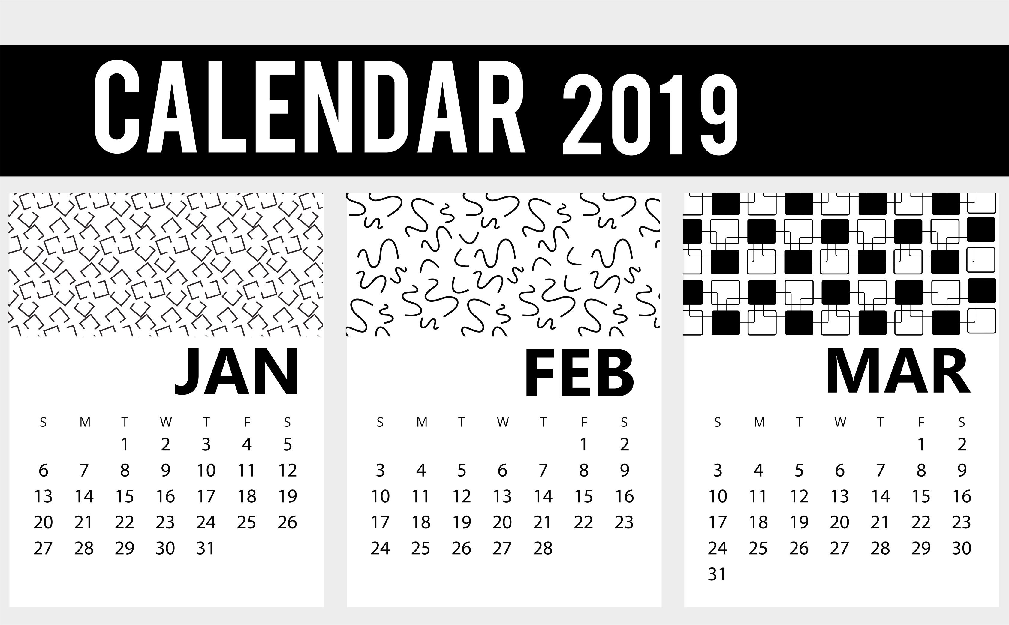 Free January February March 2019 Calendar Printable Template