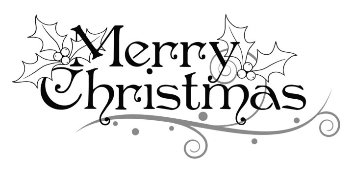 Merry Christmas Clipart Black and White