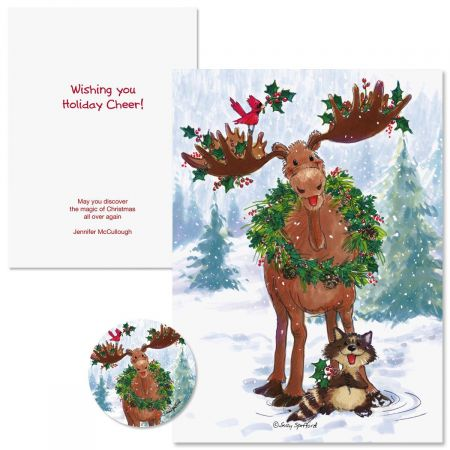 Merry Christmas Moose Christmas Cards Personalized