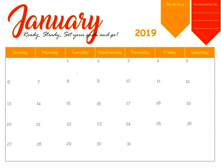 Monthly January 2019 Calendar Printable Colored Design